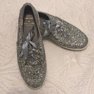 -KATE SPADE- Silver Glitter KEDS Fashion sneakers